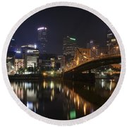 Nighttime In The City Round Beach Towel