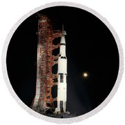 Nighttime View Of The Apollo 12 Space Round Beach Towel