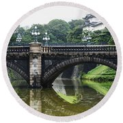 Nijubashi Bridge At Imperial Palace Round Beach Towel