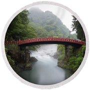 Nikko Shin-kyo Bridge Round Beach Towel
