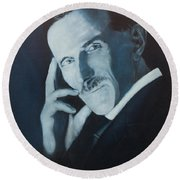 Nikola Tesla - Blue Portrait Round Beach Towel