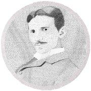 Nikola Tesla In His Own Words Round Beach Towel