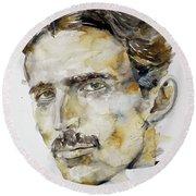 Nikola Tesla - Watercolor Portrait.6 Round Beach Towel