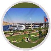 Nile Cruise Ships Aswan Round Beach Towel
