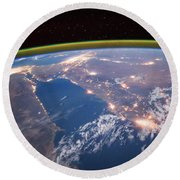 Nile River At Night From Iss Round Beach Towel