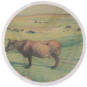 Nils Kreuger, 1858-1930, Cow In The Meadow Round Beach Towel