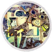 Nine Lives Of The Cat Round Beach Towel