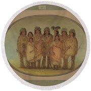Nine Ojibbeway Indians In London Round Beach Towel
