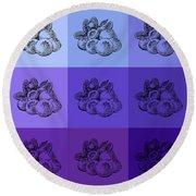 Nine Shades Of Blueberries Round Beach Towel