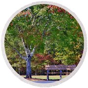 Ninety Six National Historic Site Bench In Autumn  Round Beach Towel