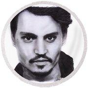 Johnny Depp Drawing By Sofia Furniel Round Beach Towel
