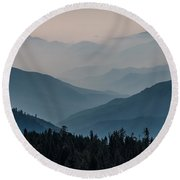 Misty Blue Shades Of Generals Highway 2 Round Beach Towel