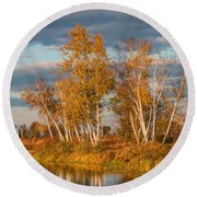 Crex Meadows At Sunset Round Beach Towel