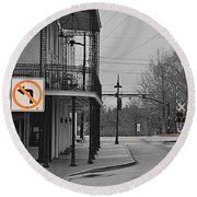 No Left Turn - Selective Color Round Beach Towel