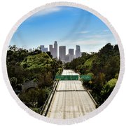 No More Cars In Los Angeles. Round Beach Towel
