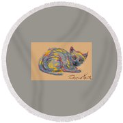 No Name Cat Round Beach Towel