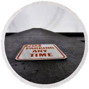 No Parking Any Time Round Beach Towel