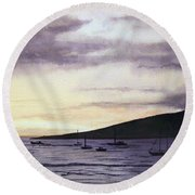 No Safer Harbor Lahaina Hawaii Round Beach Towel