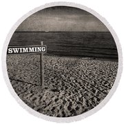 No Swimming Round Beach Towel