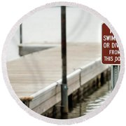 No Swimming Or Diving Round Beach Towel