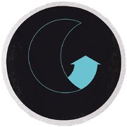 No053 My Moon 2009 Minimal Movie Poster Round Beach Towel