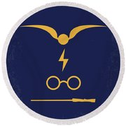 No101-1 My Hp - Sorcerers Stone Minimal Movie Poster Round Beach Towel