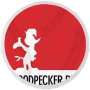 No12 My Minimal Color Code Poster Woody Woodpecker Round Beach Towel