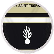 No186 My Le Gendarme De Saint-tropez Minimal Movie Poster Round Beach Towel by Chungkong Art