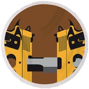 No576 My Face Off Minimal Movie Poster Round Beach Towel
