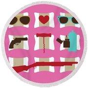 No736 My True Romance Minimal Movie Poster Round Beach Towel
