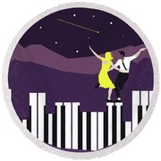 No756 My La La Land Minimal Movie Poster Round Beach Towel