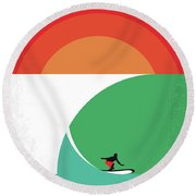 No915 My Riding Giants Minimal Movie Poster Round Beach Towel by Chungkong Art