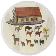 Noah's Ark And Animals Round Beach Towel