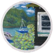 Noble Cottage At The Lake Round Beach Towel