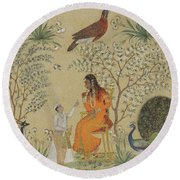 Noble Woman In A Garden Round Beach Towel