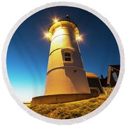 Nobska Light Falmouth Ma Cape Cod Window Shadow Round Beach Towel