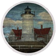 Nobska Lighthouse 2 Round Beach Towel