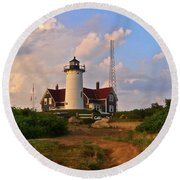 Nobska Lighthouse Round Beach Towel