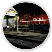 New Orleans Train Stop Round Beach Towel