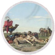 Nomads In The Desert Round Beach Towel by Georges Washington