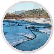 Nooksack River On A December Afternoon Round Beach Towel