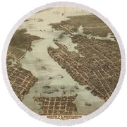 Norfolk And Portsmouth Map Round Beach Towel