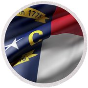 Norh Carolina State Flag Round Beach Towel
