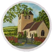 Norman Church In Fingest Round Beach Towel