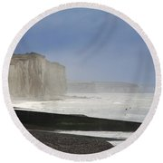 Normandia Falesie Round Beach Towel
