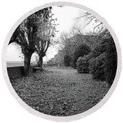 Normandy Black And White Round Beach Towel