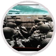 Normandy Soldiers Round Beach Towel