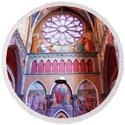 North Aisle - Sanctuary In Osijek Cathedral Round Beach Towel