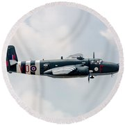 North American B-25 Hot Gen -starboard Side Round Beach Towel