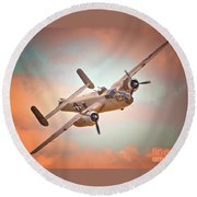 Pacific Princess North American B-25 Mitchell Across Rosy Skies Round Beach Towel